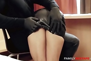 Oiled There Step-Daughter Gets Massaged By Daddy In Latex Gloves