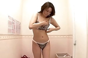 Asian single mom trying new lingerie