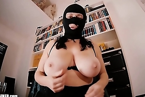 Beamy breasted Mom-Slut in a Spandex Fetish Mask Masturbates with a suction-cup Dildo. Huge boobs, high heels and a cum load swallowed. Homemade non-professional sex tape.