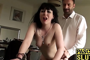 Inked sub Sexy Cleo reaches big cock orgasm and fed cum