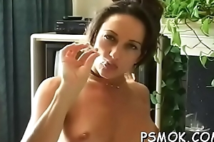 Elegant hottie with great ass fingering her wet pussy