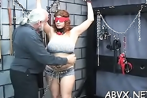 Stripped woman stands and endures rough enslavement amateur