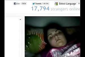 Fat Omegle chick sucks fingers and shows boobs