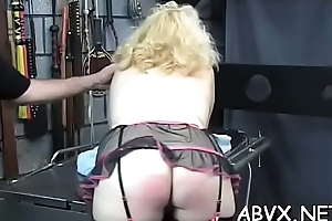 Dilettante babe with fine forms naughty servitude porn play