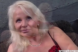 German granny gangbanged hard by a bunch of young guys