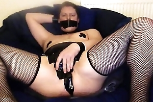 Obedient cam slave in Duct Tape Chastity &amp_ Stocking