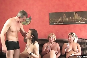 Amateur German threesome with old sluts and a pierced guy