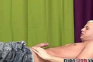 Horny blond Euro anally pounding his tight masseur