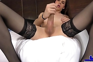 Smalltitted trans babe strips and tugs cock