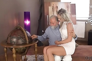 OLD4K. Old pedagogue uses mistake to make love with thankful girl