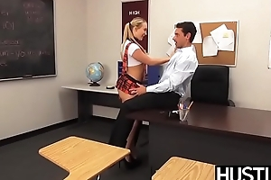 Schoolgirl AJ Applegate sucking dick before pounding