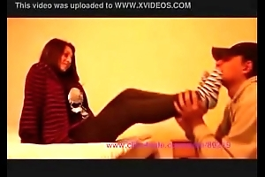 girl mode slave smelling lick her stocking foot with sneakers converse all star 2