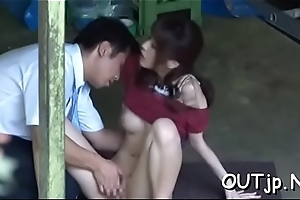 Breasty lady getting in its entirety hardcore style by a dude