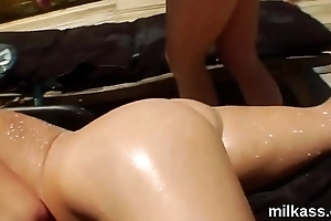 Foxy lesbians fill up their big fannys with cream coupled with blast it out