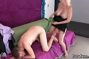 Chicks drill boyfriends butthole with oversized strap-ons added to squirt jizm