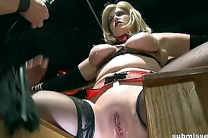Mature attendant blonde gets hot wax on her clit