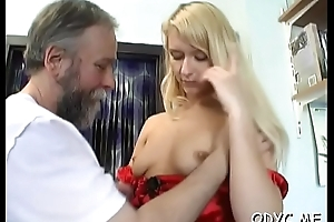 Unsparing titted dilettante gets licked by old dude with the addition of rides him