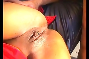 Black model in red seduces latin camera man with long meaty cock