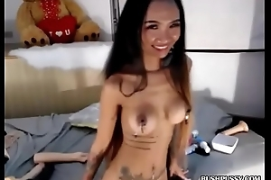 Skinny Asian with fake tits and hairy bush pussy