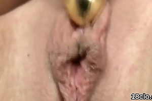 Elegant nympho is opening fro tight vagina in closeup and having orgasm