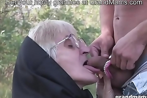 Most assuredly old granny blowjob with no teeth and hairy pussy