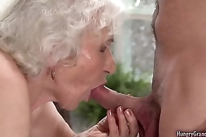 Ugly grandma with gray hair gets fucked