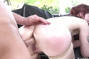 Deep throat redhead ass pounded