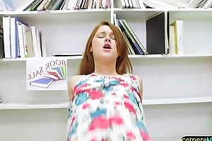 Redhead teen POV doggystyled in the library