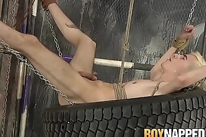 Bound gay Alexis Tivoli analled roughly after whipping