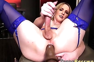 Tgirl in stockings toys herself and tugs will not hear of rock solid cock
