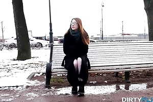 Redhead got cold and enjoyed hot sex with a stranger