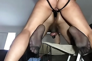 cucky has his nuts busted and ass fucked by hotwife