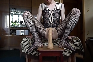 LanaTuls - Caged in a Chastity with an increment of Crossdressed Riding a Big Dildo