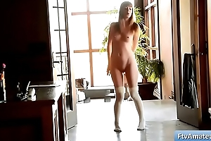 Young cutie girl Alana plays naked in the hallway and perturb her bald pussy tender