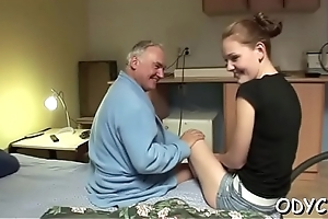 Breathtaking old and young fucking with sexy babe getting it hard