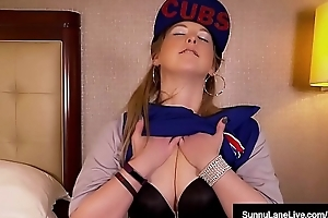 Sunny Lane Loves The Chicago Cubs &amp_ Her Wringing wet Pussy!