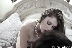 Teen stepdaughter blows cock and balls