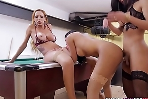 Busty tgirls in threeway