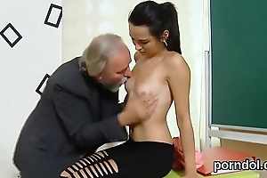 Kissable college girl gets tempted and rode at the end of one's tether older mentor