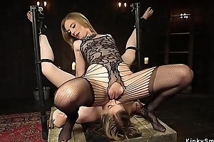 Long clouded strap on cock up blondes ass