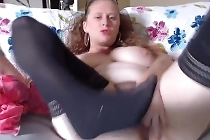 Friendly busty housewife Aubrey plays with hairy vagina