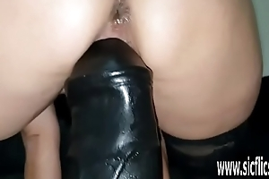 Sarah fucks colossal dildos in her greedy pussy