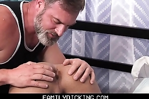 Bear Step Dad Teaches And Fucks His Latino Foreign Exchange Step Son