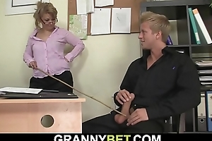He seduces and fucks busty old grown up office woman